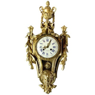 Antique Bronze Stunning Louis XV Style Cartel Clock Dated and Marked For Sale