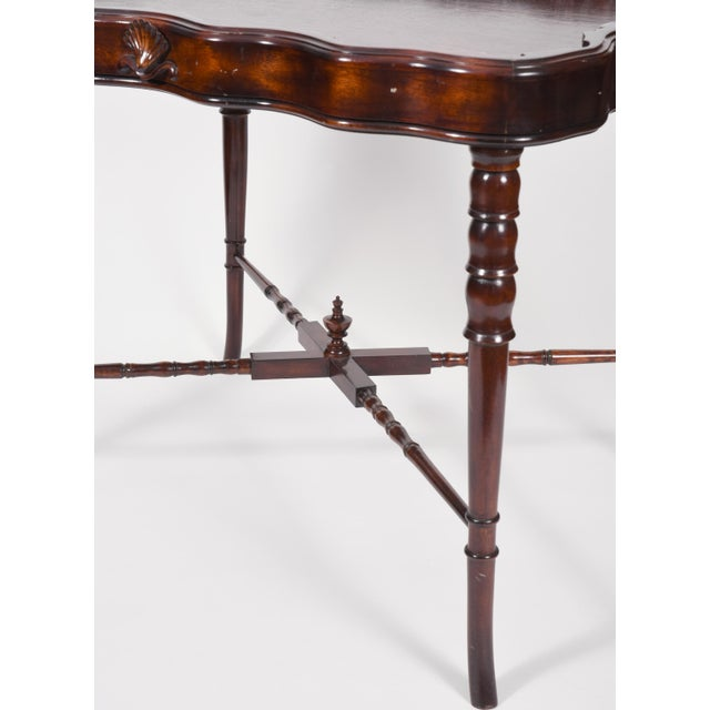 Silver Vintage Mahogany Base Frame Silver Plate Tray Table For Sale - Image 8 of 13