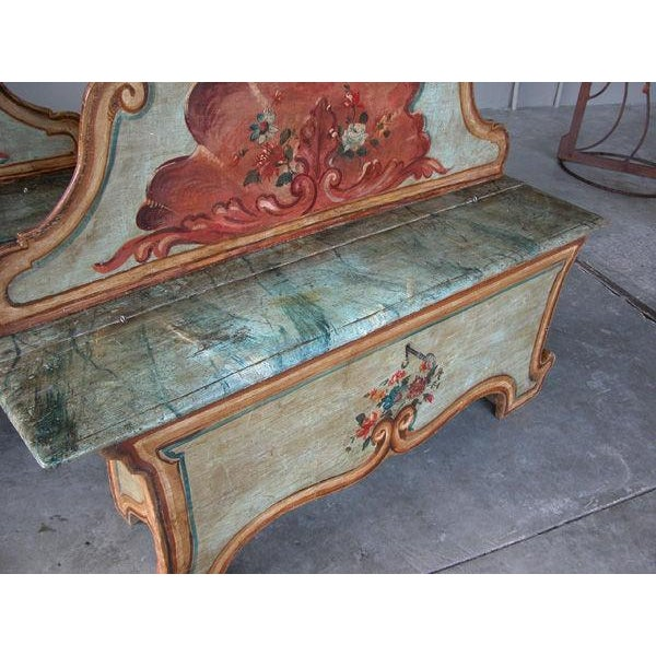 A Fanciful Venetian Baroque Style Pine Polychromed Highback Bench For Sale In San Francisco - Image 6 of 10