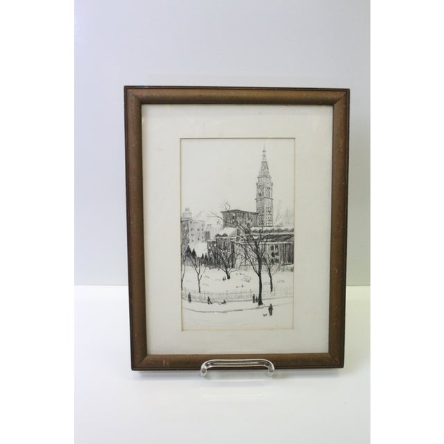 1970s Vintage Gramercy Park NYC Etching Print For Sale In New York - Image 6 of 7