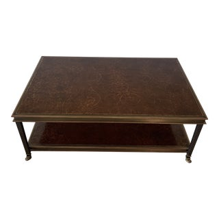 Maison Jansen Style Steel and Brass With Inset Florentine Leather Coffee Table For Sale