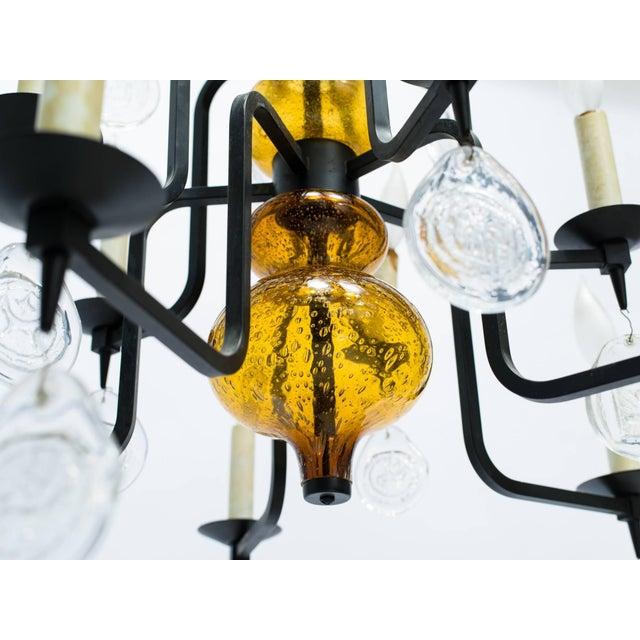 Mid-Century Modern Erik Hoglund Art Glass Chandelier For Sale - Image 3 of 11