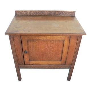 Hand Carved Oak Side Cabinet