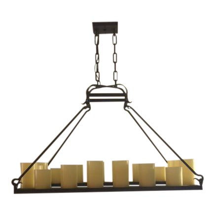 Mallorca Rectangular Hollowed Candle Electrified Chandelier by Laura Lee Designs - Image 1 of 4