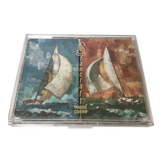 Vintage Mid-Century Sailing Yacht Playing Cards in Lucite Case For Sale