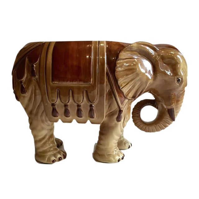 Fitz & Floyd Mid-Century Modern India Elephant Ceramic Planter - Image 1 of 8