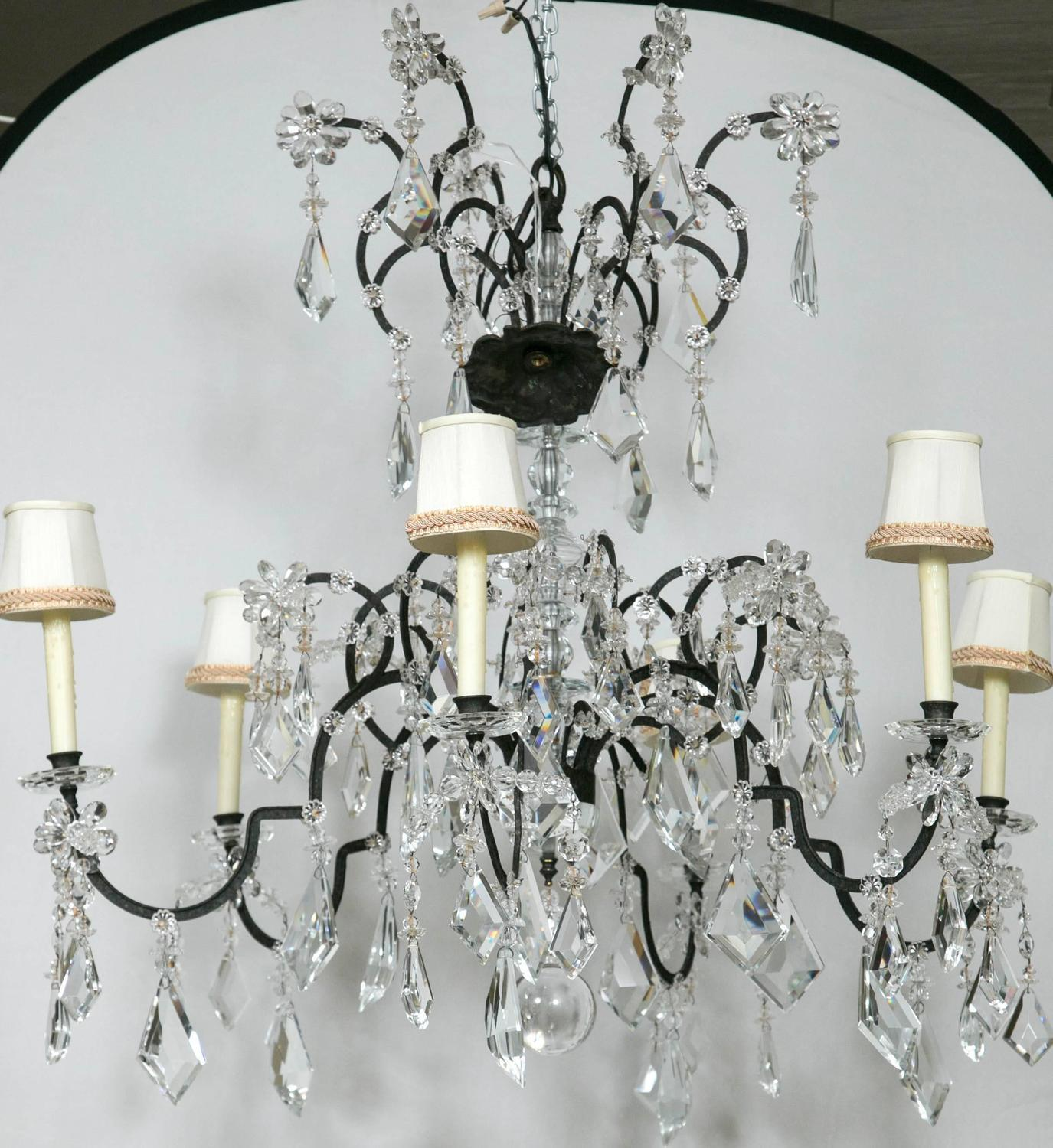 Holly Hunt Wrought Iron u0026 Crystal Chandelier - Image 3 ... & Holly Hunt Wrought Iron u0026 Crystal Chandelier | Chairish