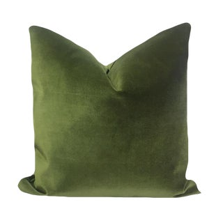 Fern Green Cotton Velvet Pillow Cover For Sale