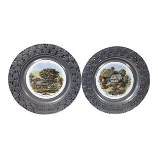 Currier & Ives Pewter Trimmed Hanging Plates - A Pair