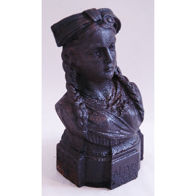 19th Century French Iron Lady Bust Fragment - Image 3 of 9