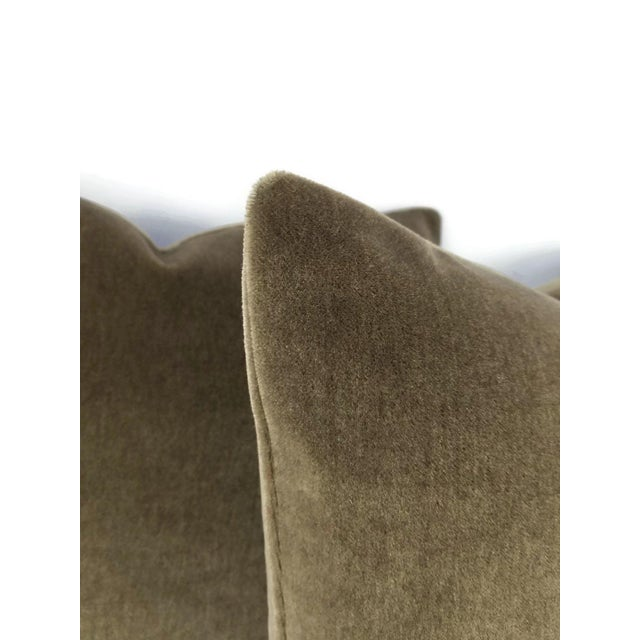 "Dark Wood Brown Mohair Velvet Pillow Cover - 20"" X 20"" For Sale In Portland, OR - Image 6 of 7"