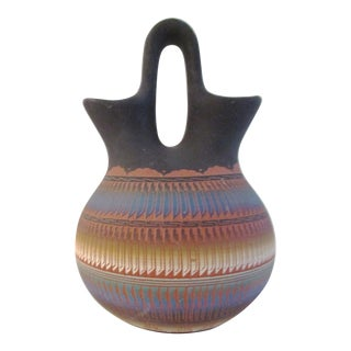 Black Multi-Color Navajo Pottery Style Wedding Vase For Sale