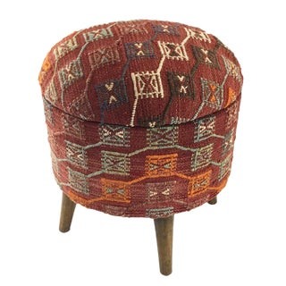 Modern Brick Red Kilim Footstool | Kilim Pouf