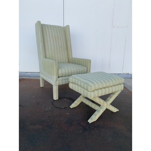 Parson's Chair With X -Base Ottoman For Sale - Image 11 of 11