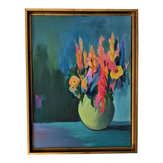 Contemporary Abstract Floral Still Life Acrylic Painting by Jillian Goldberg, Framed For Sale