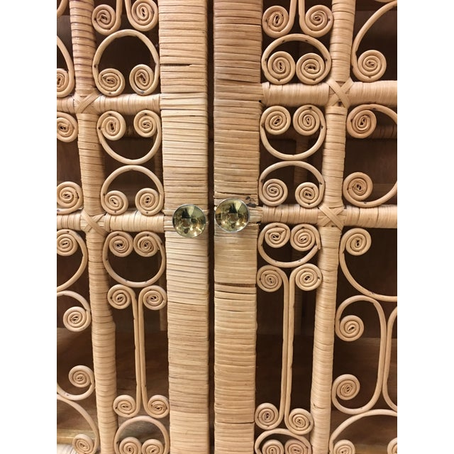 Brown Bohemian Rattan Storage Cabinet For Sale - Image 8 of 11