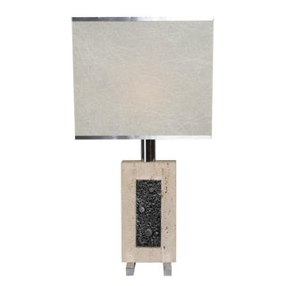Travertine and Steel Italian Table Lamp For Sale