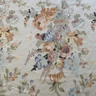 English Hand-Printed Floral Linen Fabric- 2 1/2 Yards For Sale