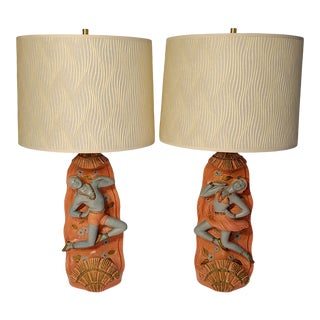 1950s Hawiian Dancer Chalk Lamps With Shades - a Pair For Sale