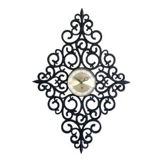 Hollywood Regency Syroco Black Scrollwork Wall Clock For Sale