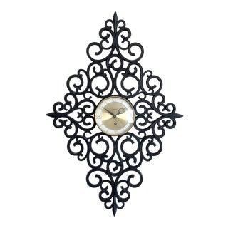 Hollywood Regency Syroco Black Scrollwork Wall Clock For Sale