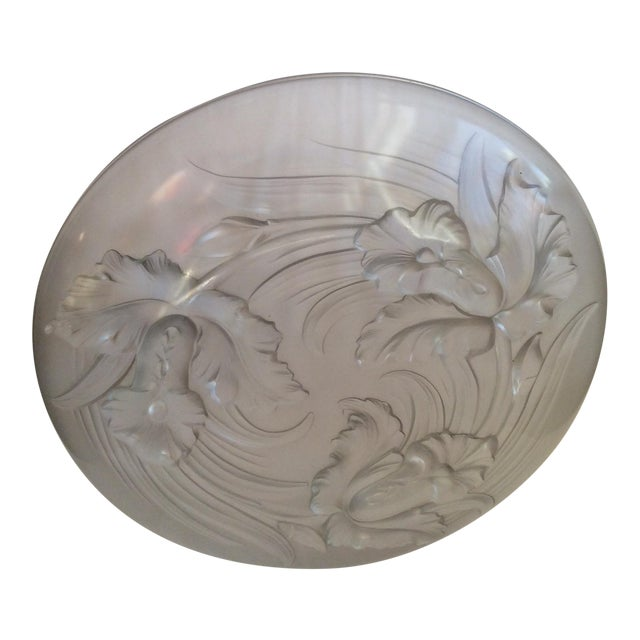 Antique Frosted Glass Platter For Sale