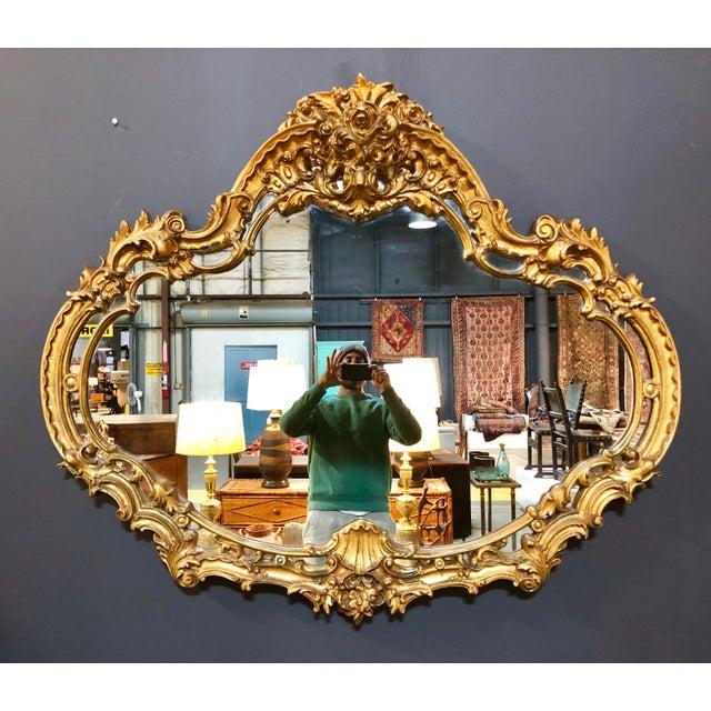 Gold Large Vintage Gold Mirror For Sale - Image 8 of 8