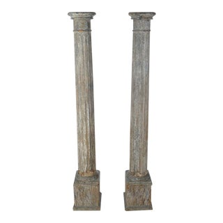 19th C. Original Colonial Carved Wood Pillars - a Pair For Sale