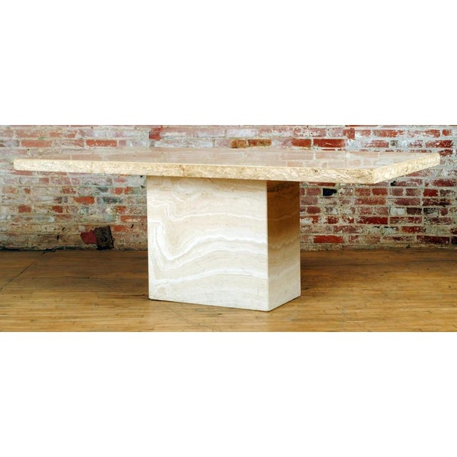 Travertine Pedestal Dining Table For Sale - Image 9 of 9