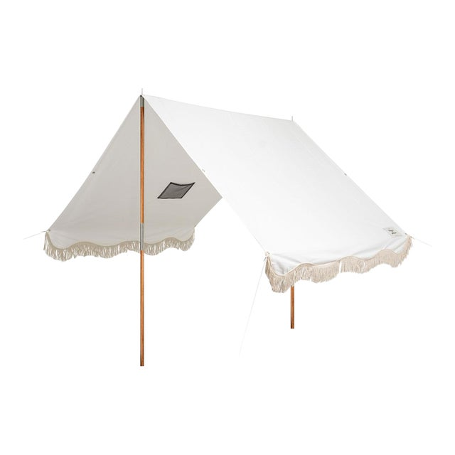 Premium Beach Tent - Antique White with Fringe For Sale