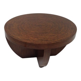 Modern Round Coffee Table With Zebrano Finish For Sale