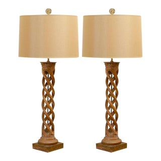 Spectacular Pair of Helix Lamps by Frederick Cooper For Sale