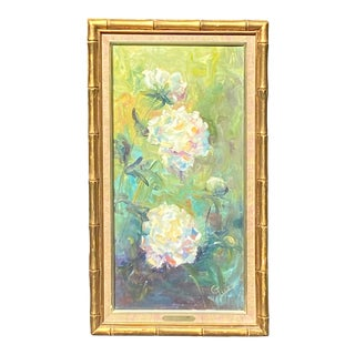 Vintage Gold Bamboo Framed Oil Painting of Botanical Abstract Peonies Art For Sale
