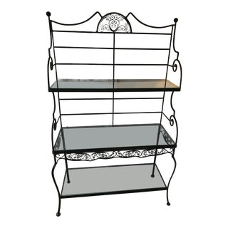 1960s Vintage Black Wrought Iron Baker Rack For Sale
