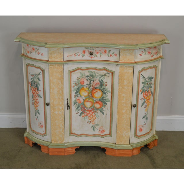 French Italian Hand Painted Narrow Serpentine Console Cabinet For Sale - Image 3 of 13
