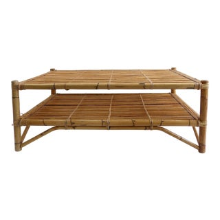 Mid-Century Modern Tropical Bamboo Coffee Table