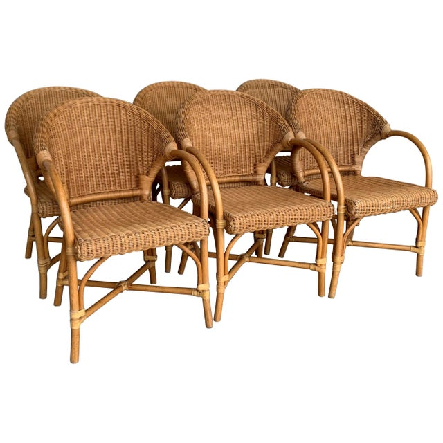 Midcentury Set of Six Bamboo and Rattan Dining Room Armchairs For Sale - Image 13 of 13