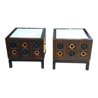 Mid-Century Modern Marble Top Tic Tac Toe Themed Nightstands / End Tables - a Pair For Sale