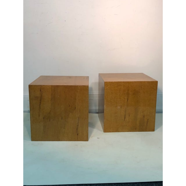 """Pair of burl wood cube or side tables, each measuring 18"""" by 18"""", 18"""" high. Late 20th century. $3,200 for the pair."""