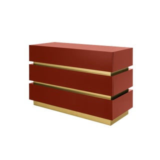 Flair Home Collection Banded Chest Of Drawers in Cinnabar / Brass For Sale