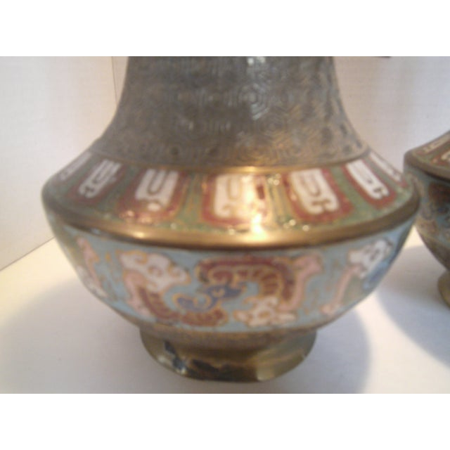 Antique Bronze Champleve Urns - A Pair - Image 7 of 11