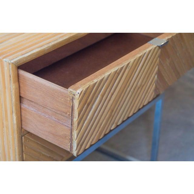 Milo Baughman Split Bamboo Rattan Nightstand Table - Image 4 of 7