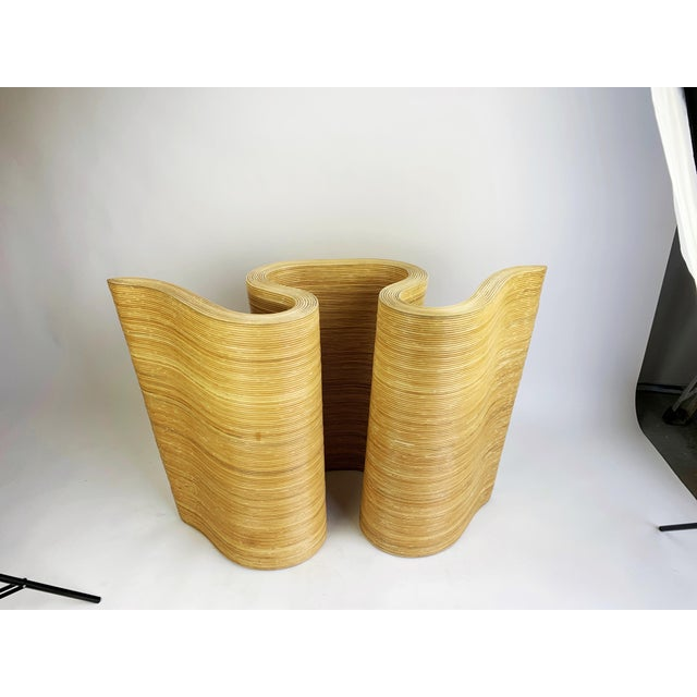 Wood Pencil Reed Bamboo Curvy Ribbon Scroll Console Aft Gabriella Crespi For Sale - Image 7 of 13