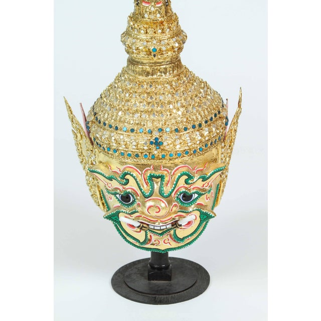 Arts & Crafts Gilt Thai Demon Mask Dance Headdress Crown For Sale - Image 3 of 9