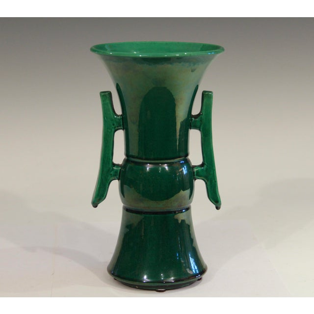 Antique Awaji Pottery Arts & Crafts Green Gu Monochrome Vase For Sale - Image 9 of 9