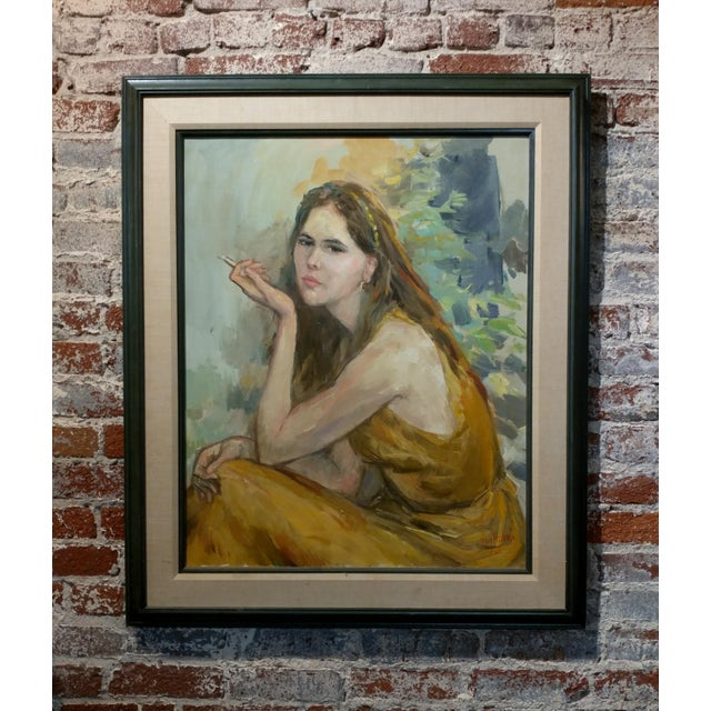 Sam Harris - Pretty Woman holding a cigarette- original 1967 Oil painting oil painting on canvas -Signed and dated frame...