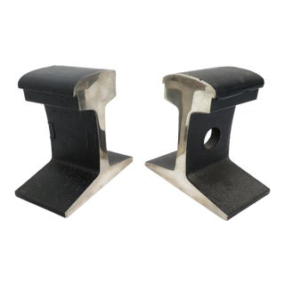 Mid Century Modernist Chrome Plated Railroad Tie Bookends - a Pair For Sale
