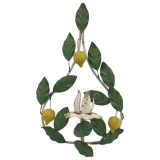 Vintage Italian Tole Lemon Candle Wall Sconce