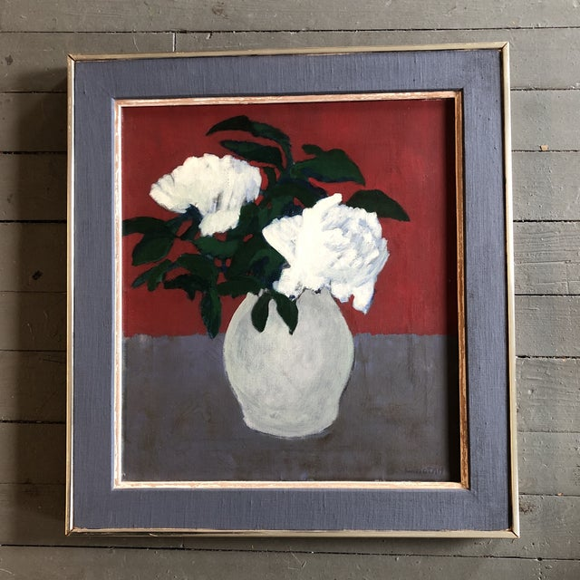 Original Mid Century Peonies Painting by Listed Robert LaHotan Madison Ave Label 1950's For Sale - Image 9 of 9