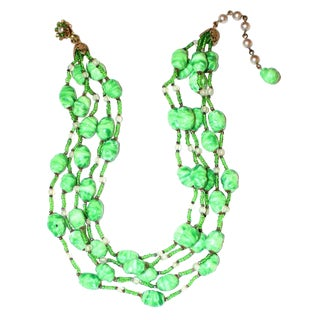 1950s Vintage Miriam Haskell Multi Strand Green Bead Choker For Sale